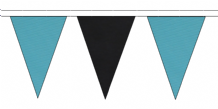 SKY BLUE AND BLACK TRIANGULAR BUNTING - 10m / 20m / 50m LENGTHS